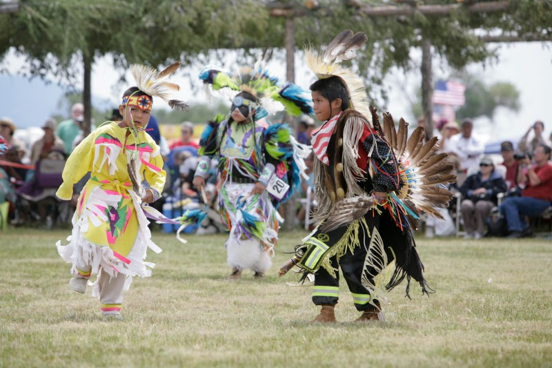 Young boys dancing at powwow