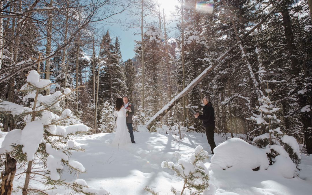 Wintertime Wedding in Snow at Taos Ski Valley