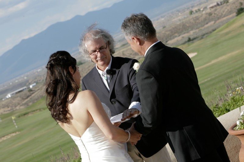 Steve Wiard officiating Taos wedding