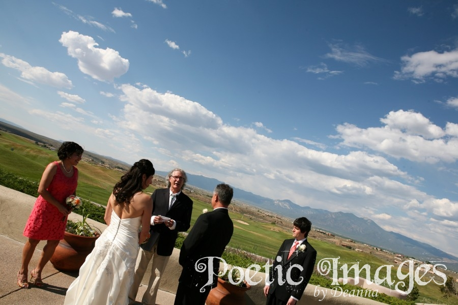 Taos wedding with mountains and blue skies