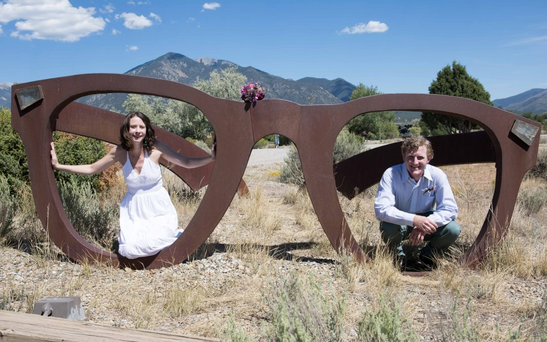 A Vow Renewal in Front of Taos Mountain in September