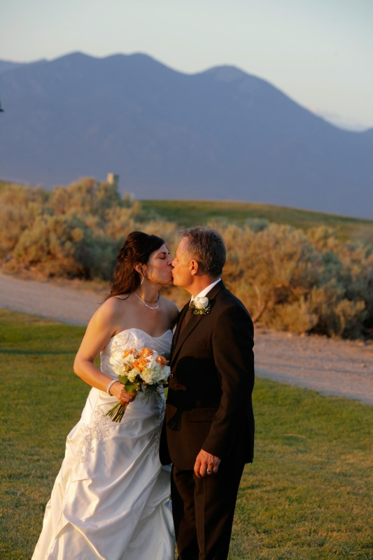 Bride and Groom and Taos Mountain