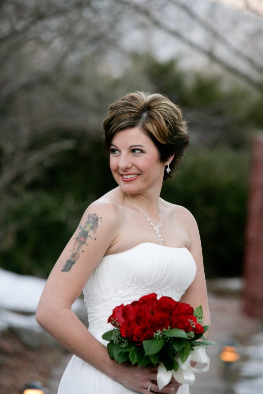 Tattooed Bride with Rose bouquet