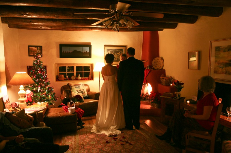 Indoor wedding in traditional Taos home