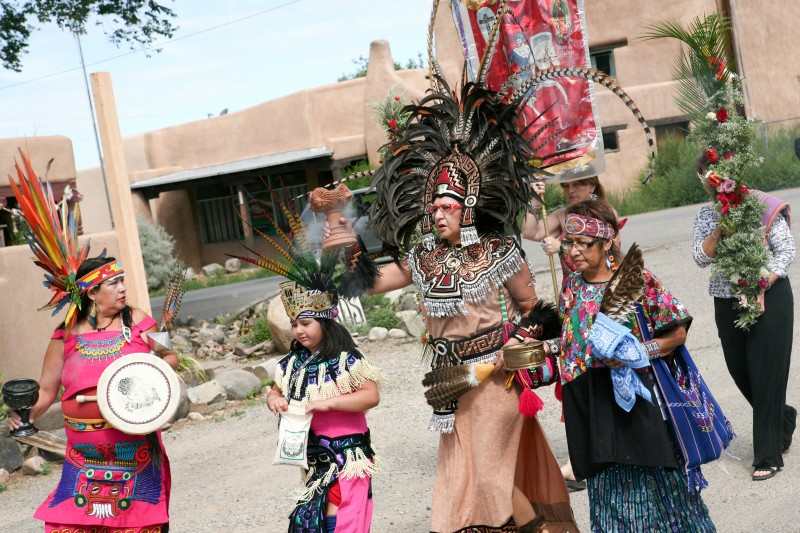 processional of Native dancers